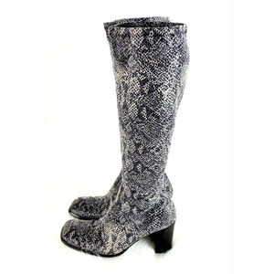 BAKERS Snake Skin Print Tall Fabric Boots
